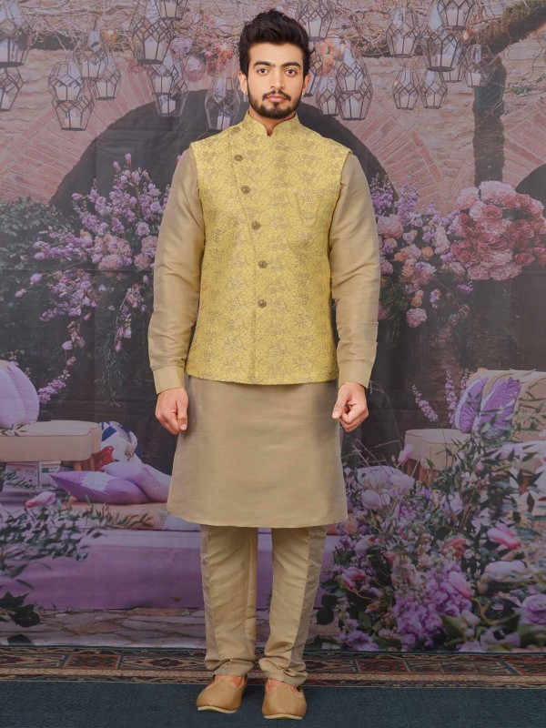 Yellow,Beige Banarasi Silk Kurta Pajama.