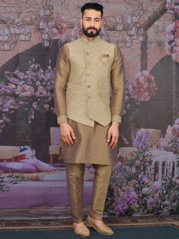 Banarasi Silk Men's Kurta Pajama Jacket.