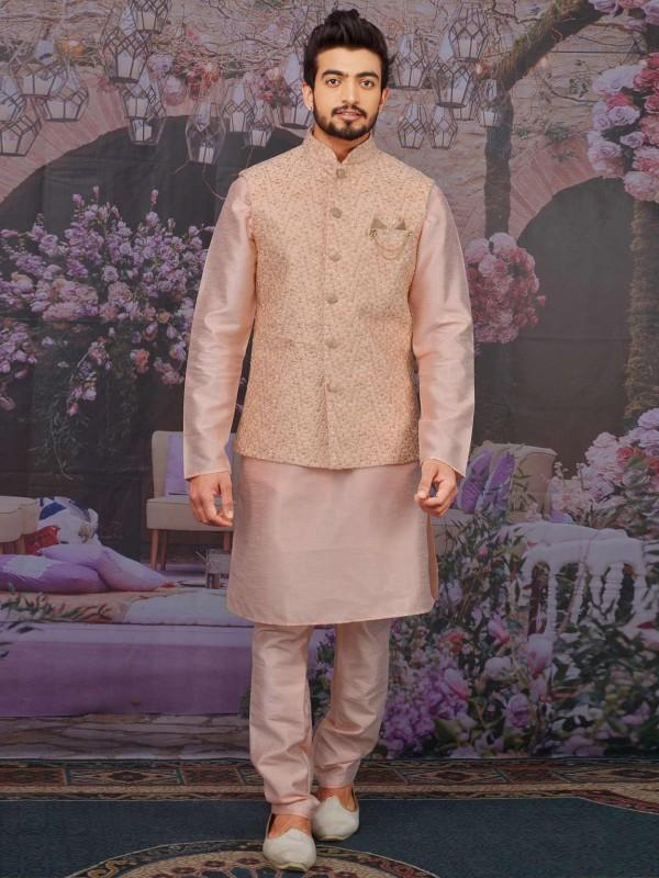 Pink Colour Banarasi Silk Kurta Pajama Jacket.