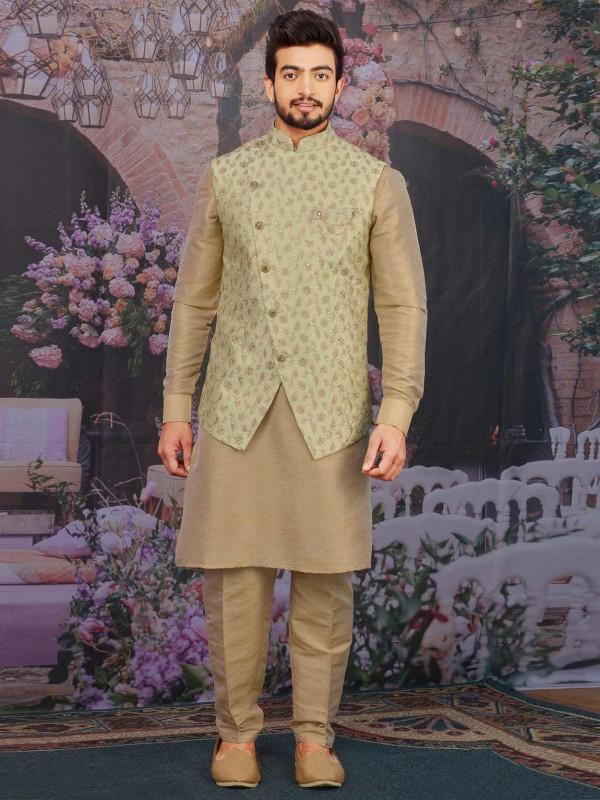 Pista Green,Beige Colour Banarasi Silk Kurta Pajama.