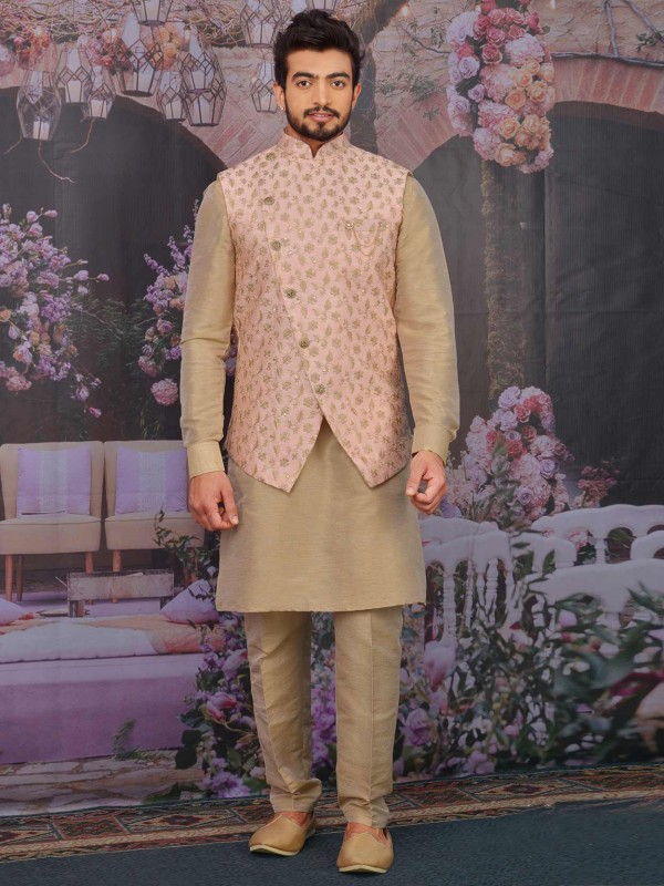 Banarasi Silk Kurta Pajama Jacket With Pink,Beige Colour.