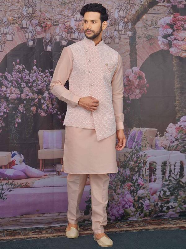 Pink in Banarasi Silk Men's Kurta Pajama Jacket.