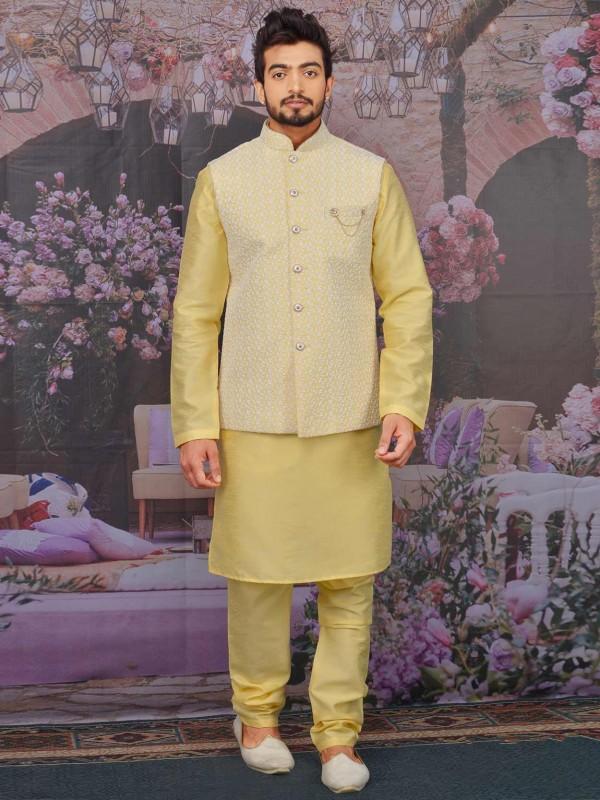 Yellow Colour Banarasi Silk Kurta Pajama Jacket.
