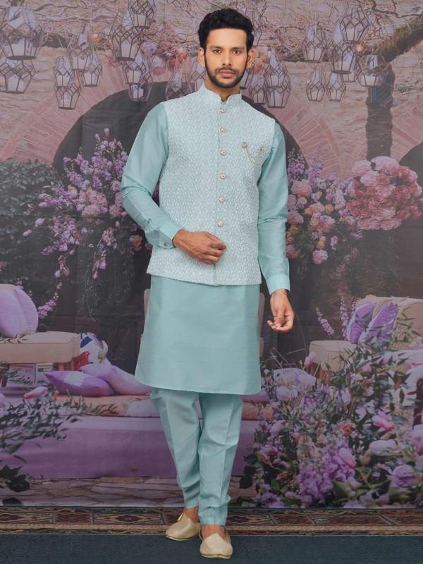 Sea Blue Colour Banarasi Silk Kurta Pajama Jacket.