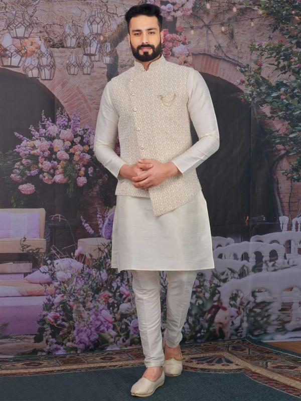 Beige,Cream Colour Banarasi Silk Designer Kurta Pajama.