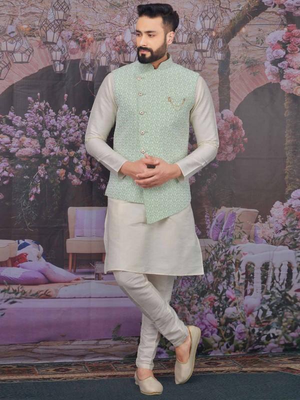 Pista Green,Cream Colour Banarasi Silk Kurta Pajama.