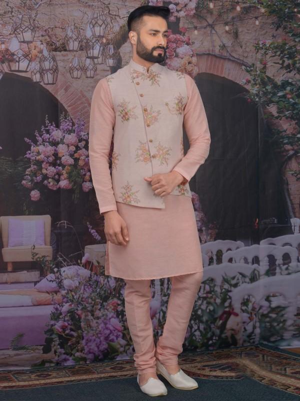Pink Colour Banarasi Silk Men's Kurta Pajama.