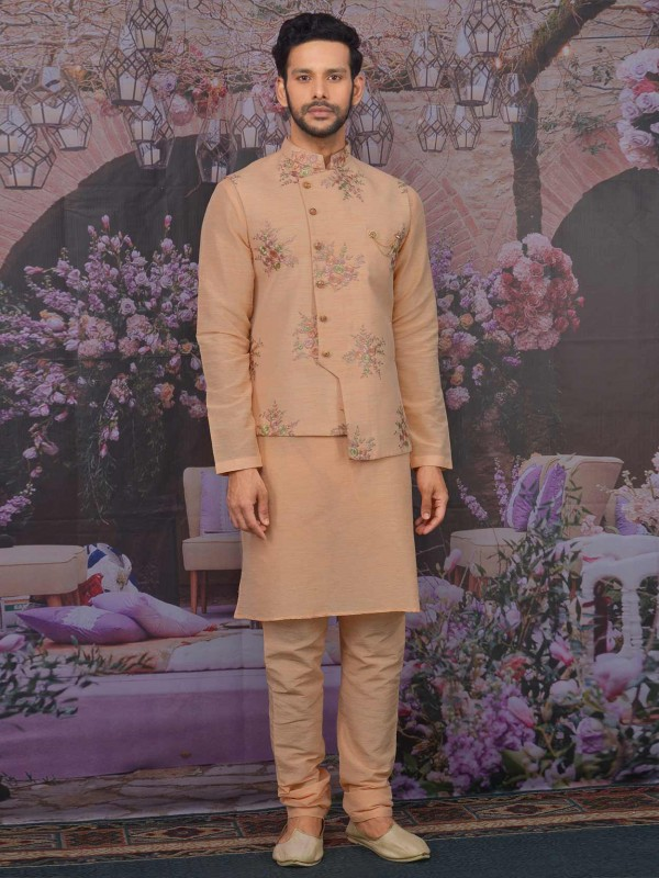 Peach Colour Banarasi Silk Kurta Pajama Jacket.