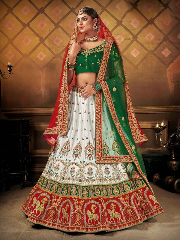 White Colour In Satin,Silk Fabric Designer Lehenga.