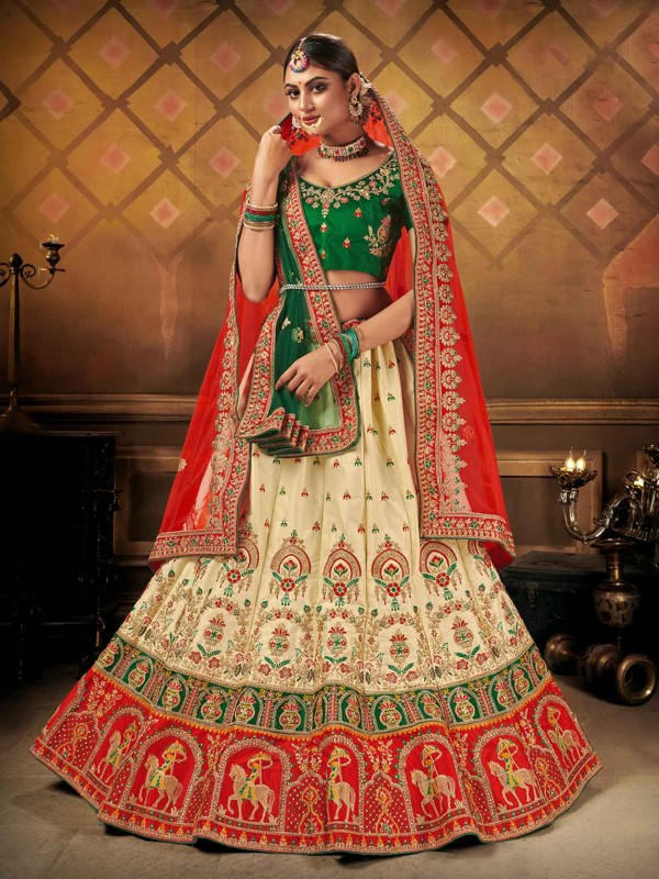 Bridal Lehenga Choli in Cream Colour With Embroidery Work.