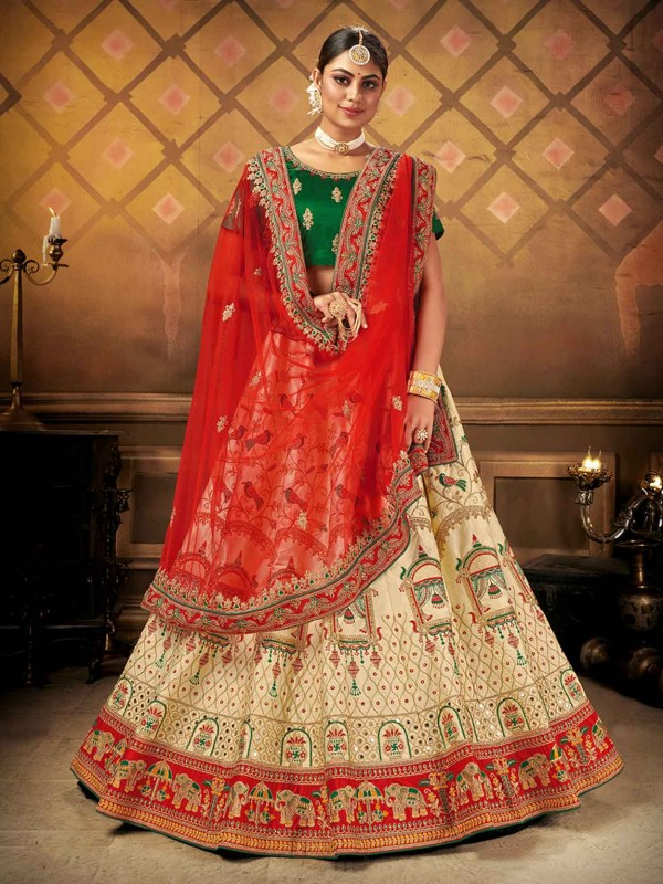 Indian Designer Lehenga Cream Colour in Satin,Silk Fabric.