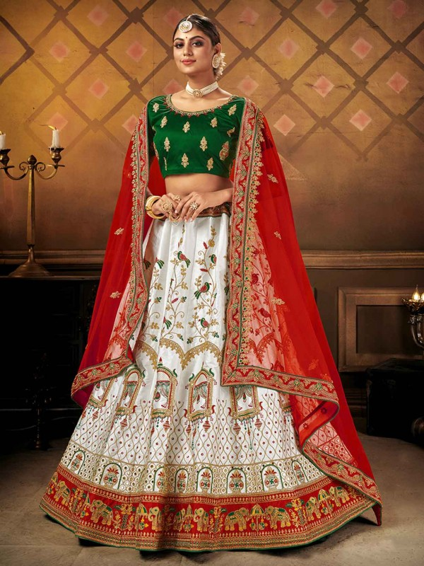 White Colour Designer Lehenga in Embroidery Work.