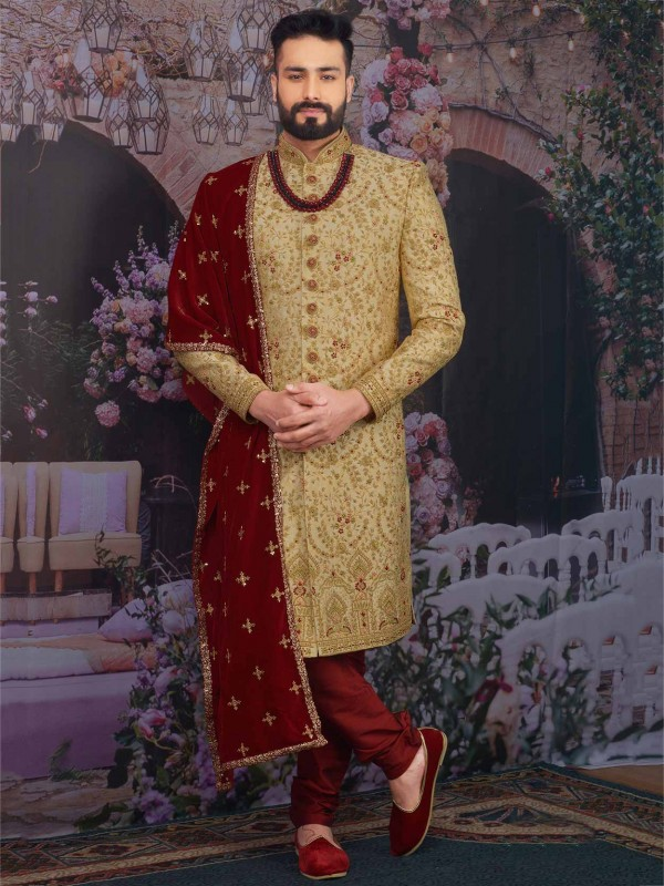 Golden Colour Jacquard,Brocade Silk Men Sherwani.