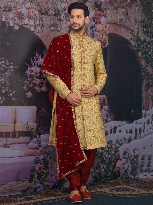Indian Designer Sherwani Golden Colour with Jacquard,Brocade Silk Fabric.