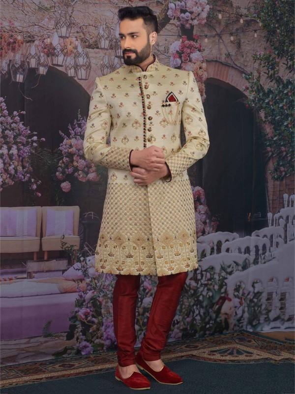 Golden Colour Banarasi Silk Wedding Sherwani.