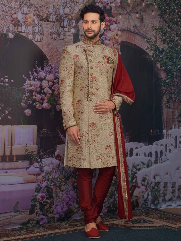 Banarasi Silk in Golden Colour Wedding Sherwani With Embroidered Work.