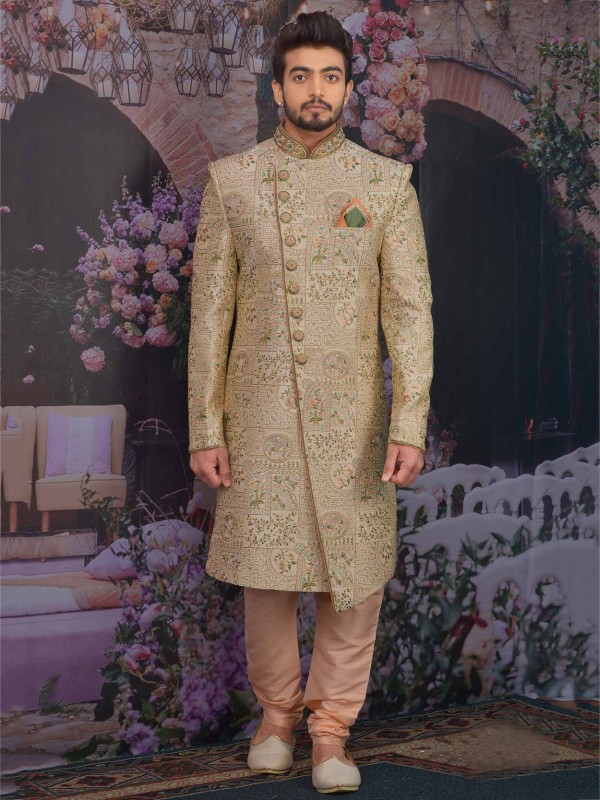 Golden Colour Banarasi Silk Indian Designer Sherwani.