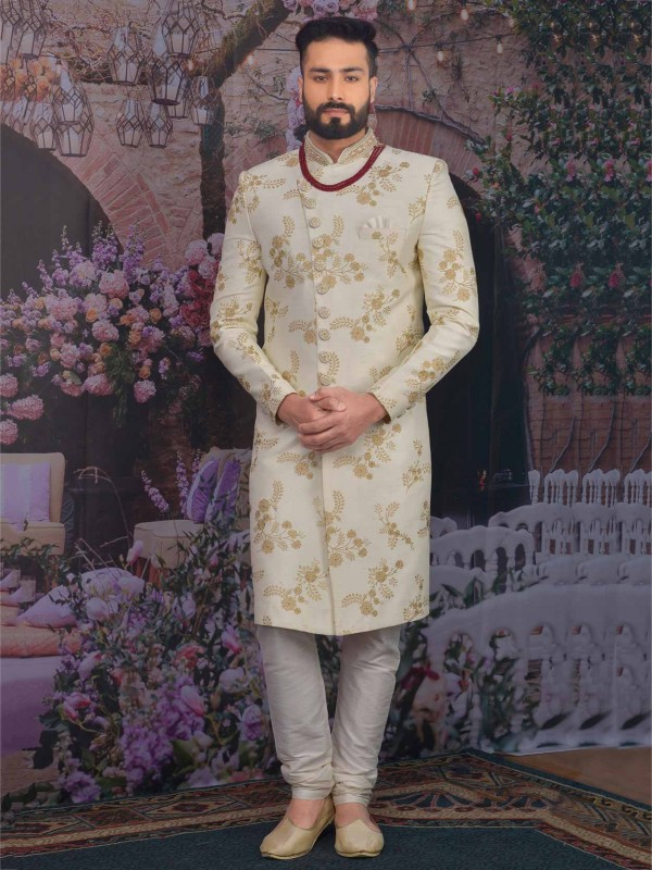 Banarasi Silk Sherwani in Cream Colour.