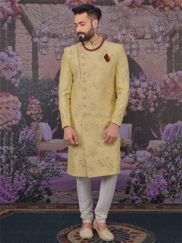 Beige Colour Banarasi Silk Designer Sherwani.