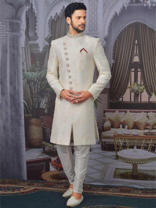 Cream Colour Banarasi Silk Men's Sherwani.