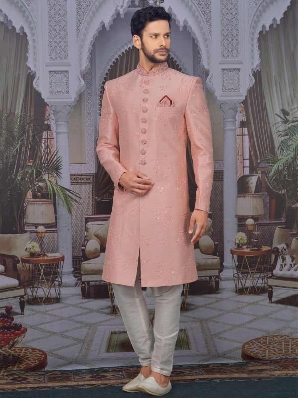Peach Colour in Banarasi Silk Sherwani.