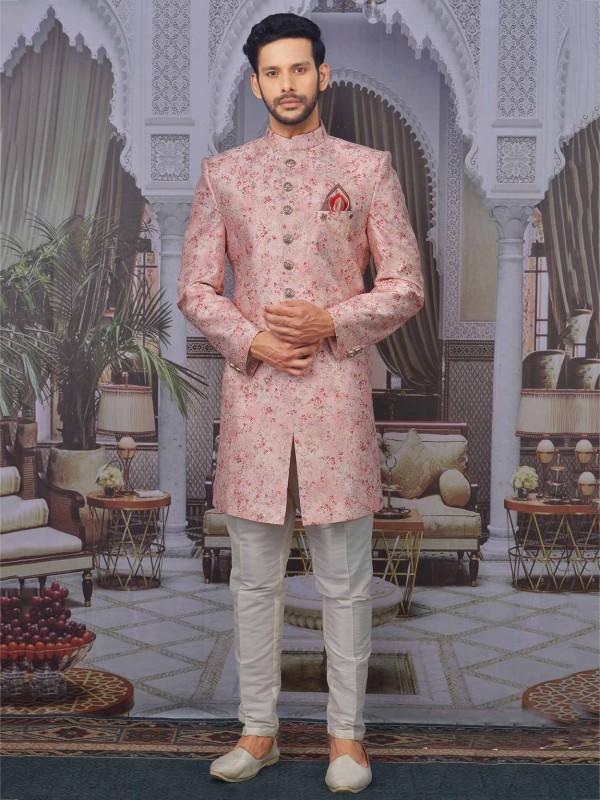 Banarasi Silk Designer Indowestern in Light Pink Colour.