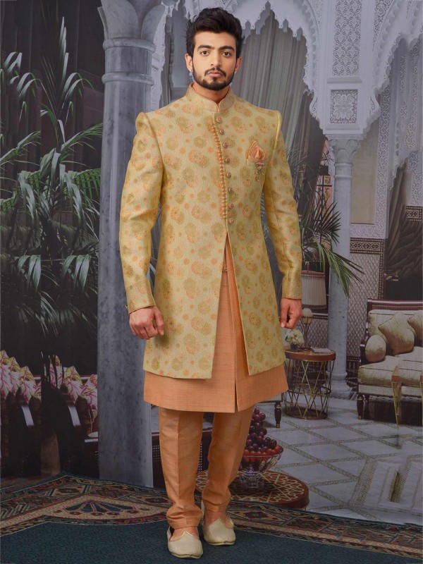 Designer Wedding Indowestern in Golden Colour with Brocade Silk Fabric.