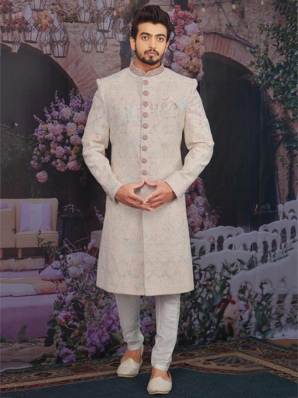 Light Peach,Cream Colour Lucknowi Fabric Sherwani.