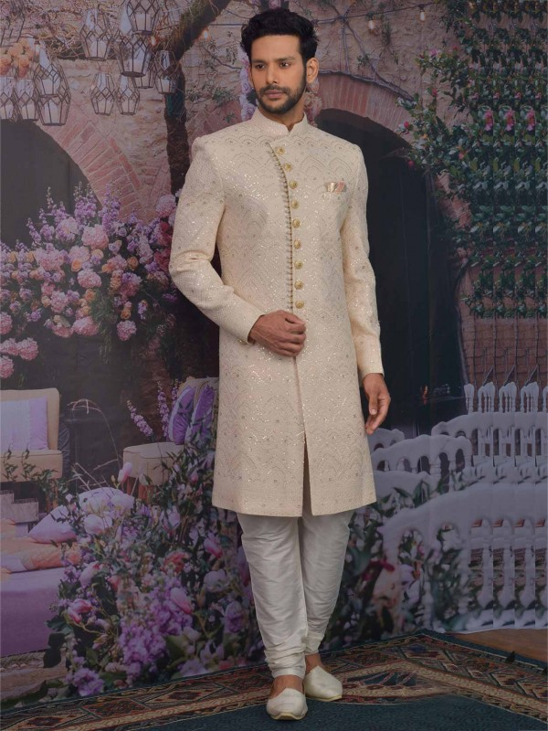Light Peach Colour In Lucknowi Fabric Sherwani with Thread,Embroidered Work.