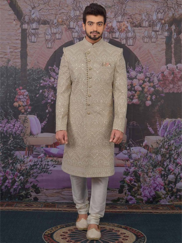 Lucknowi Sherwani in Beige Colour With Thread,Embroidered Work.