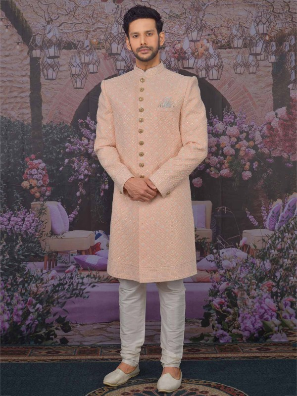 Peach Colour in Lucknowi Wedding Sherwani With Embroidered Work.