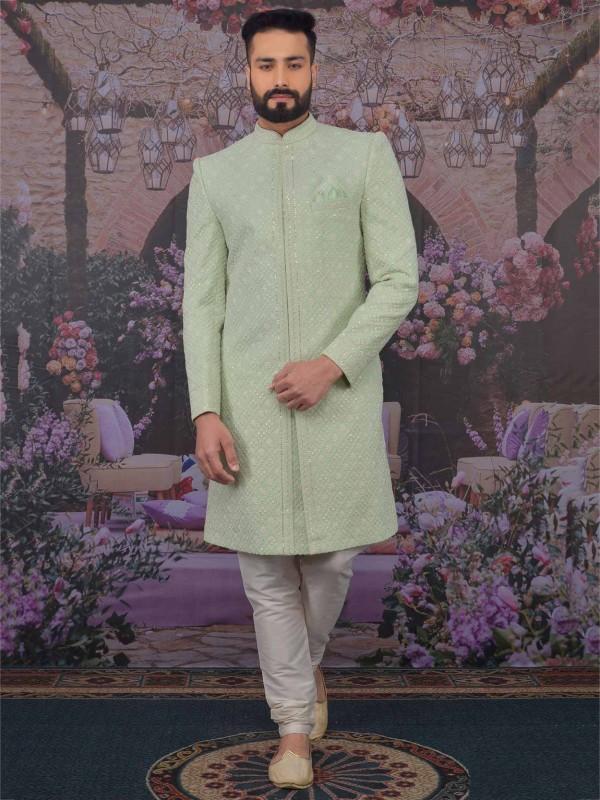 Pista Green Colour Lucknowi Sherwani.
