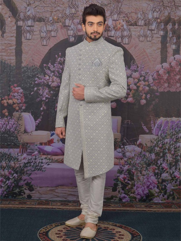 Grey,Cream in Lucknowi Fabric Men's Sherwani With Embroidered Work.