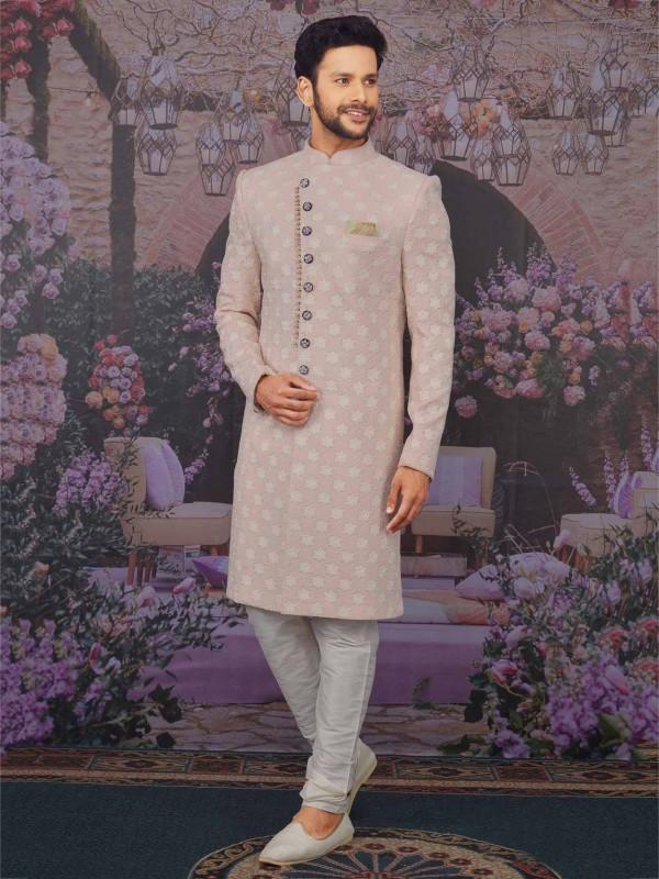 Light Pink Colour Lucknowi Designer Sherwani.