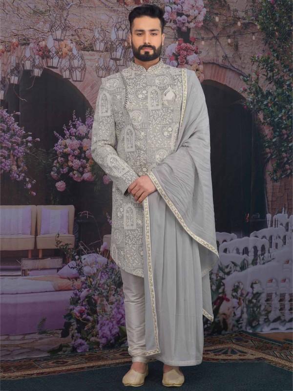 Light Grey Colour in Banarasi Silk Sherwani.