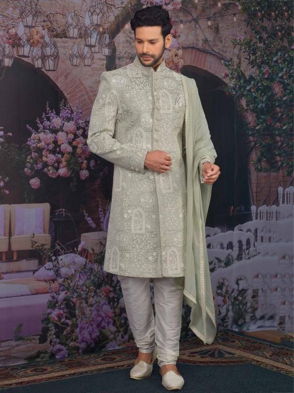 Banarasi Silk Fabric in Pista Green Colour Men's Sherwani.