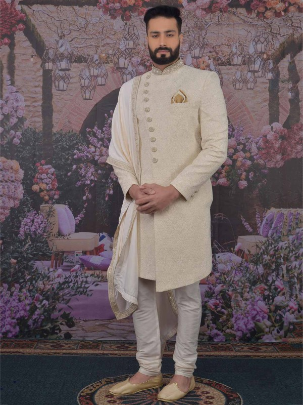 Cream Colour Lucknowi Sherwani With Embroidered Work.