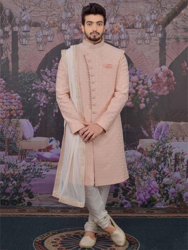Pink Colour Banarasi Silk Men's Sherwani.