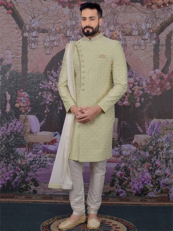 Banarasi Silk Fabric in Pista Green Colour Sherwani With Embroidered Work.