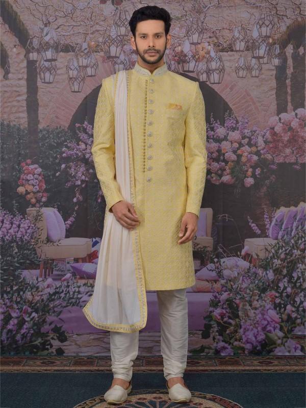 Banarasi Silk Men's Sherwani With Yellow Colour.
