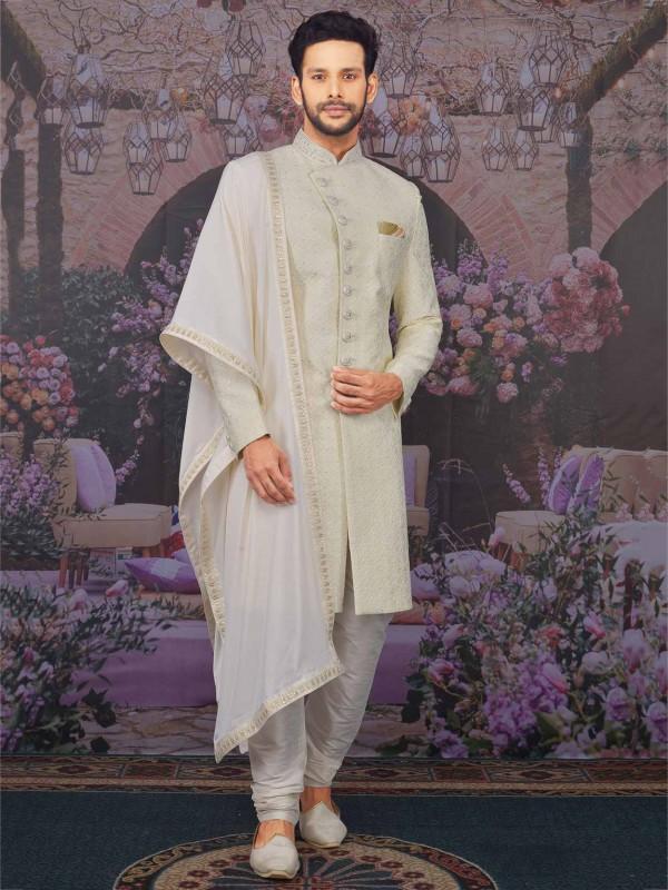 Cream Colour Banarasi Silk Indian Sherwani.