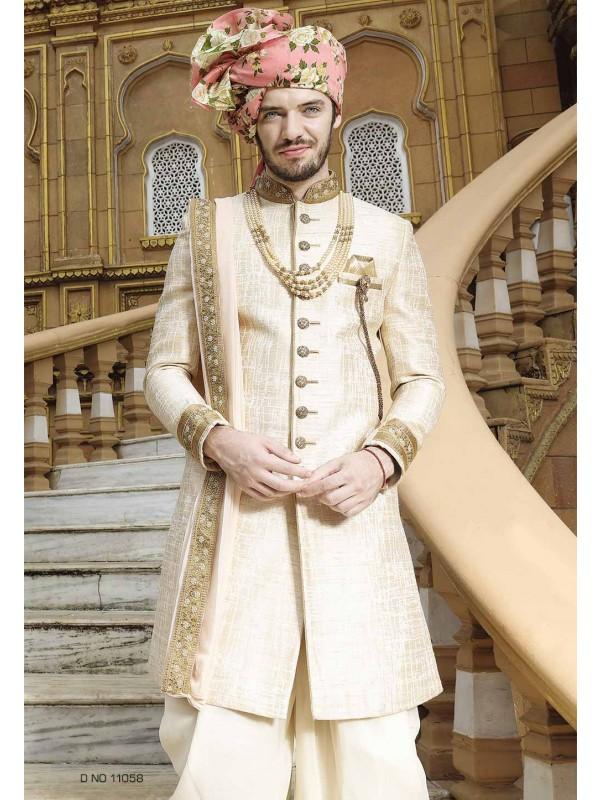 Golden,Cream Color Designer Sherwani.