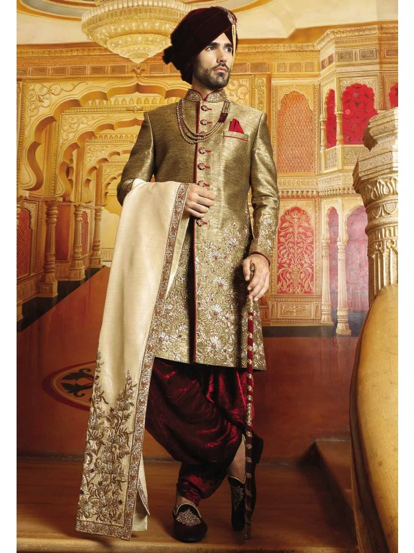 Golden Color Groom Sherwani.