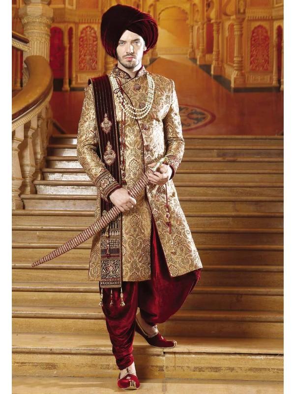 Golden,Maroon Color Indian Sherwani.