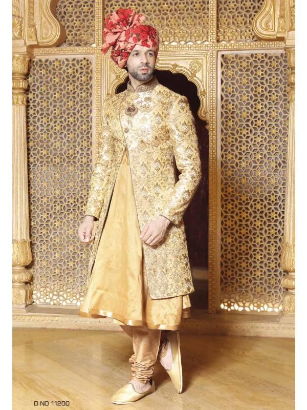 Golden,Beige Color Wedding Sherwani.