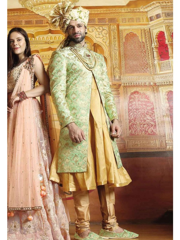 Green Color Rajput Style Sherwani.