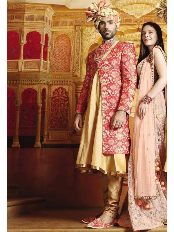 Red Color Designer Sherwani.