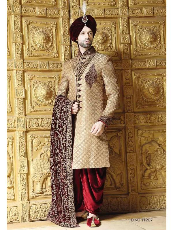 Golden,Maroon Color Wedding Sherwani.