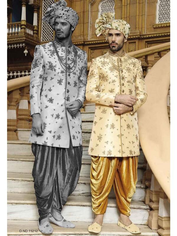 Golden Color Indowestern Sherwani.