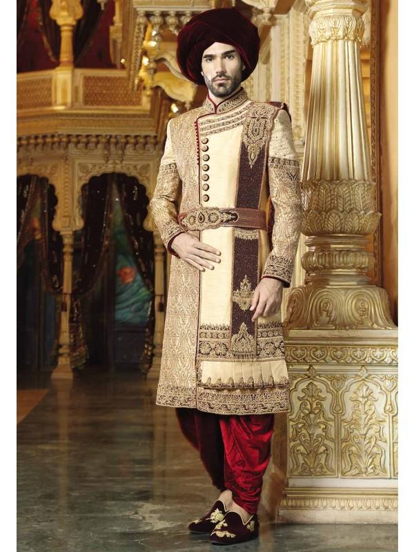 Golden,Maroon Color Groom Sherwani.